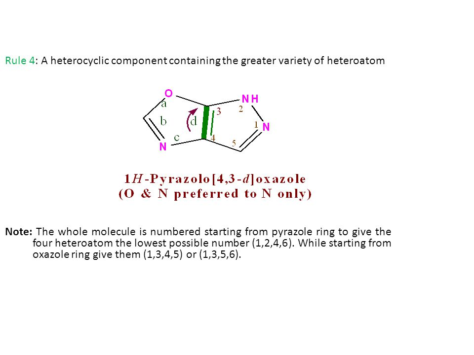 Rule 4: A heterocyclic component containing the greater variety of heteroatom Note: The whole molecule is numbered starting from pyrazole ring to give