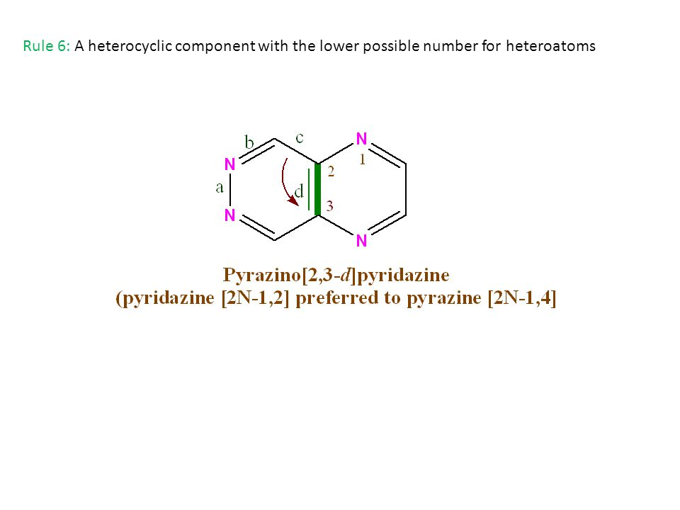 Rule 6: A heterocyclic component with the lower possible number for heteroatoms