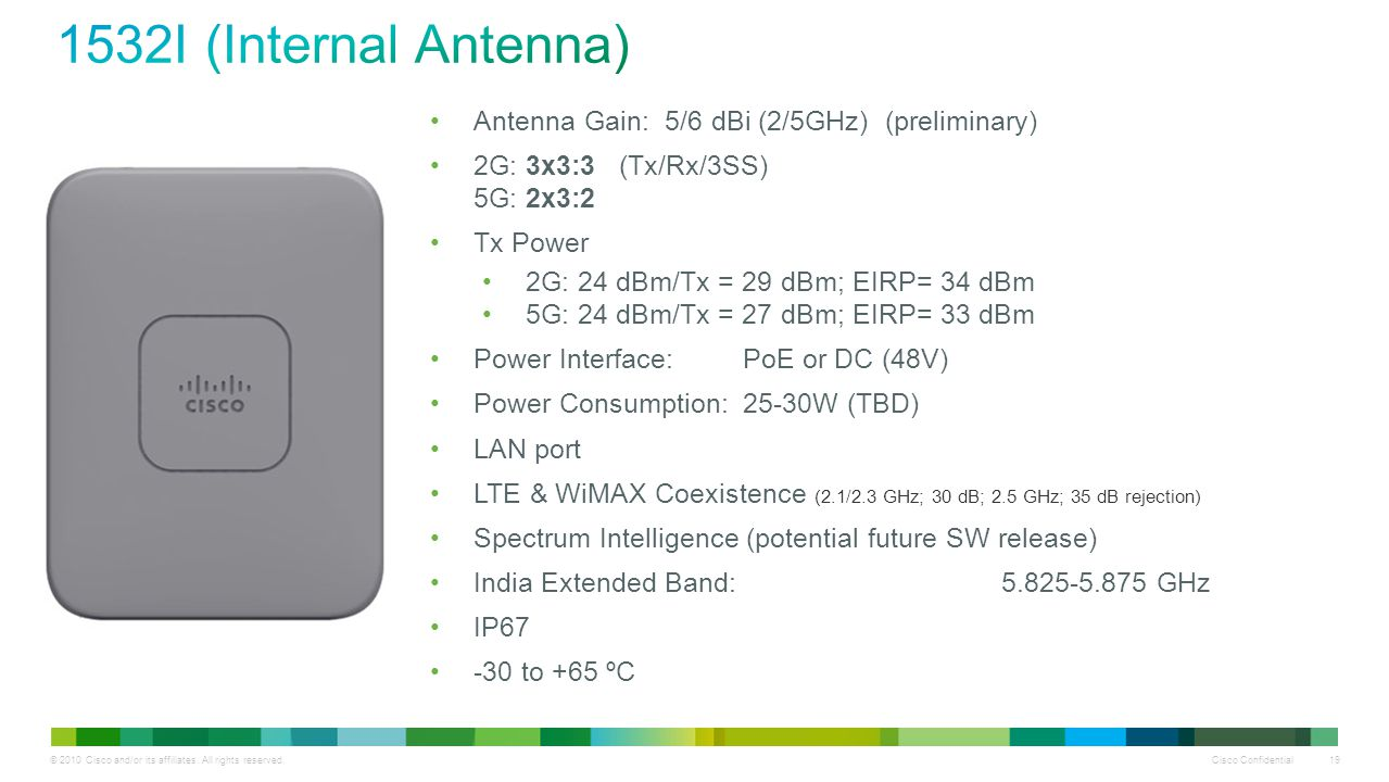 © 2010 Cisco and/or its affiliates. All rights reserved. Cisco Confidential 19 Antenna Gain: 5/6 dBi (2/5GHz) (preliminary) 2G: 3x3:3 (Tx/Rx/3SS) 5G: