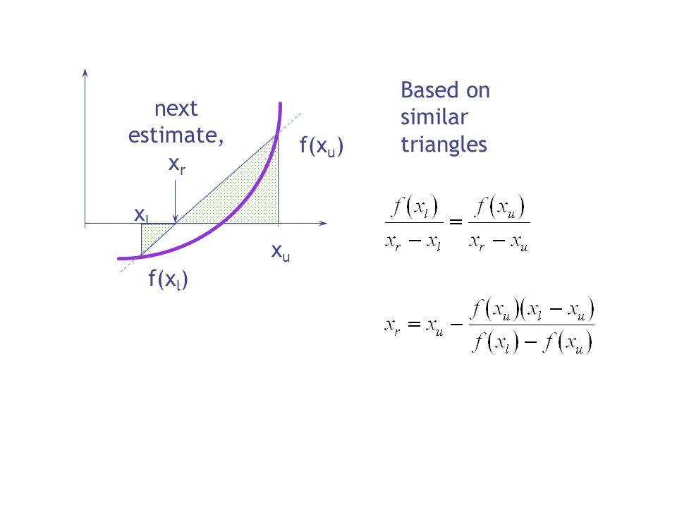 xlxl xuxu f(x l ) f(x u ) next estimate, x r Based on similar triangles