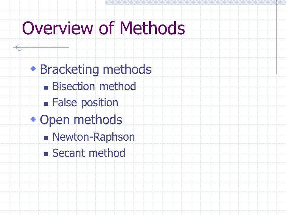 Overview of Methods  Bracketing methods Bisection method False position  Open methods Newton-Raphson Secant method