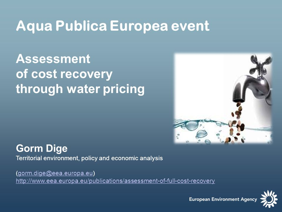 Some issues related to financial cost recovery Difference in assessment methodologies including cost elements considered Operation and maintenance costs recovered from water users in most countries/sectors – not the case for investment costs Data on cost recovery are not homogenous across and within countries – and not always easily accessible