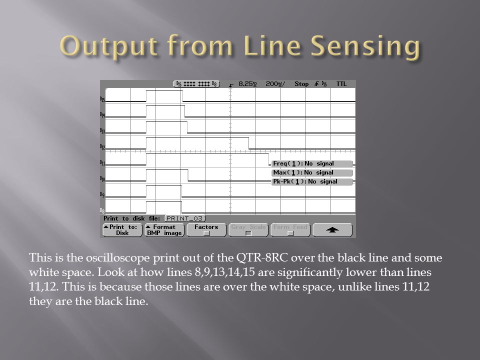 This is the oscilloscope print out of the QTR-8RC over the black line and some white space.