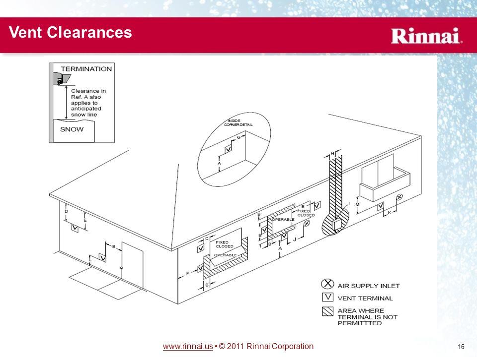 www.rinnai.uswww.rinnai.us © 2011 Rinnai Corporation 16 Vent Clearances
