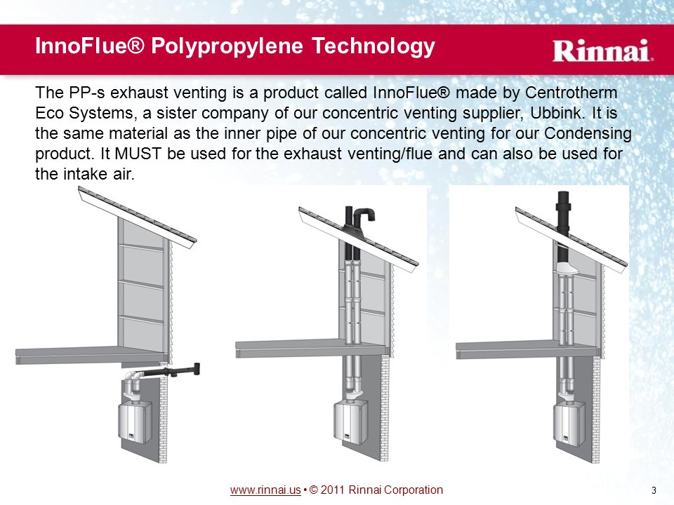 www.rinnai.uswww.rinnai.us © 2011 Rinnai Corporation 3 InnoFlue® Polypropylene Technology The PP-s exhaust venting is a product called InnoFlue® made
