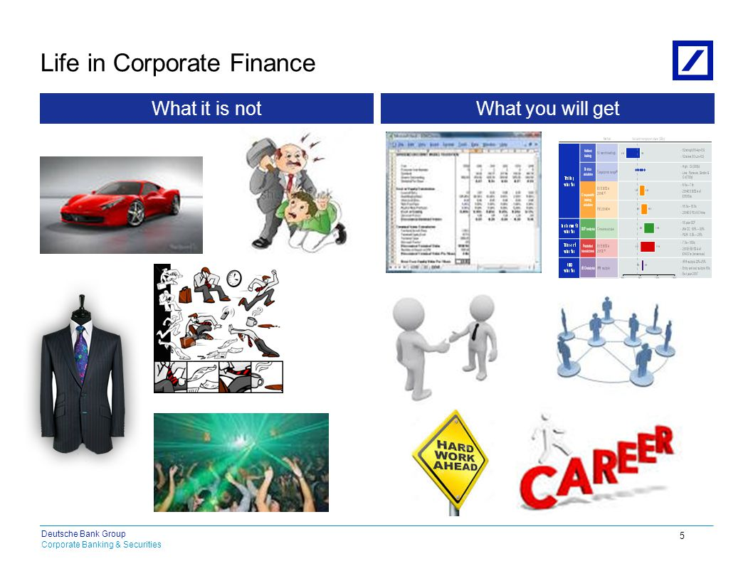 Corporate Banking & Securities Deutsche Bank Group Life in Corporate Finance 2010 DB Blue template 5 What it is notWhat you will get