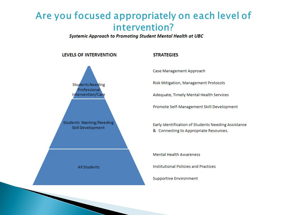 Are you focused appropriately on each level of intervention?