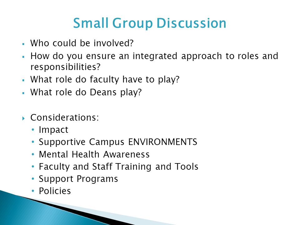  Who could be involved?  How do you ensure an integrated approach to roles and responsibilities?  What role do faculty have to play?  What role do