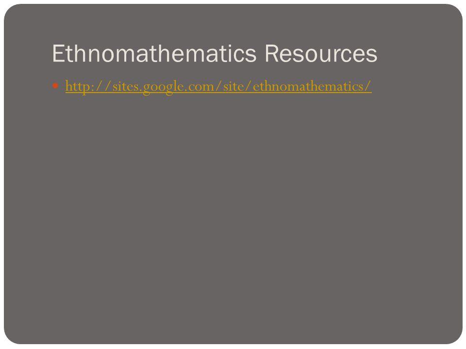 Ethnomathematics Resources http://sites.google.com/site/ethnomathematics/