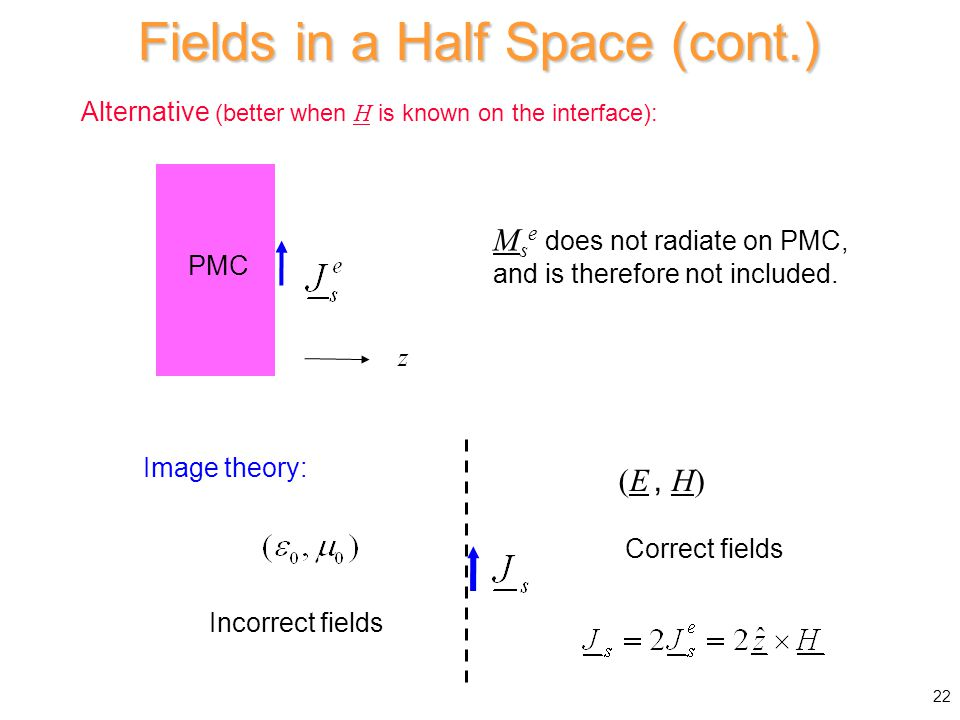 Alternative (better when H is known on the interface): M s e does not radiate on PMC, and is therefore not included.