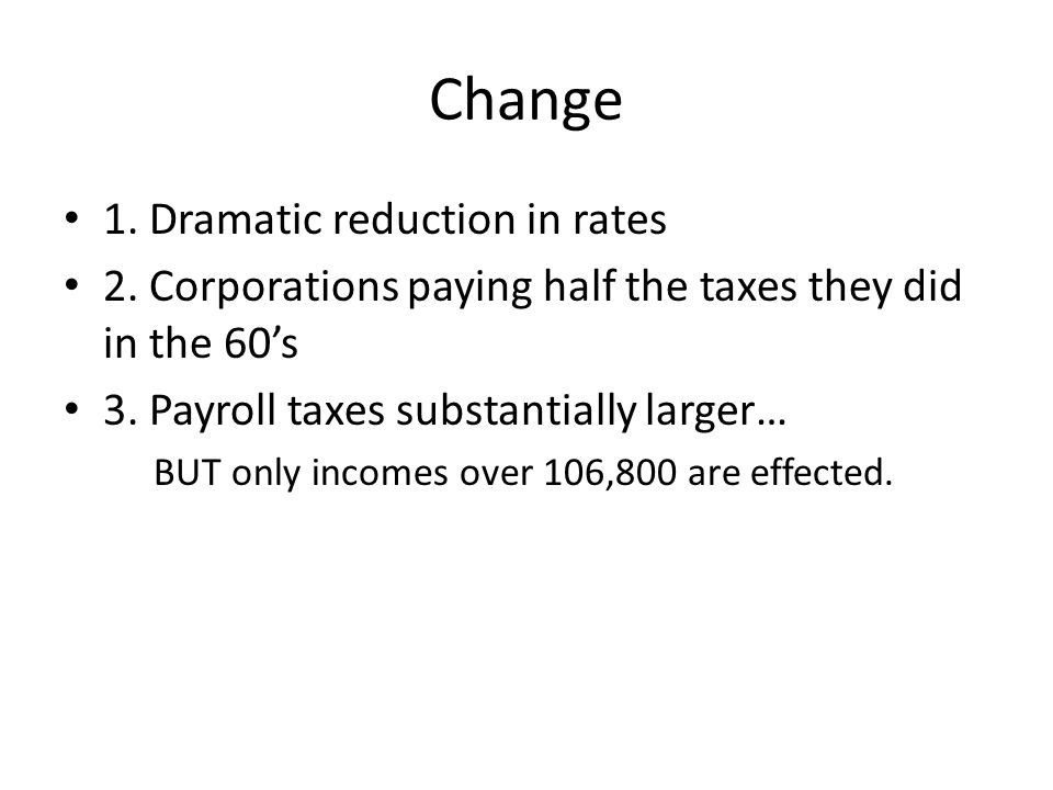 Change 1. Dramatic reduction in rates 2.