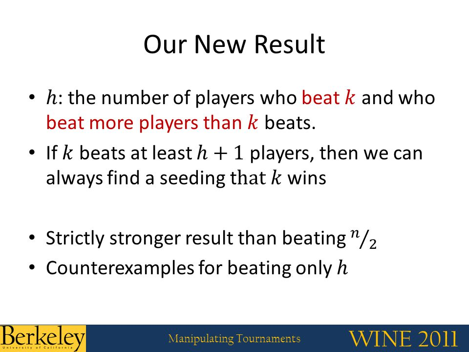 WINE 2011 Manipulating Tournaments Our New Result
