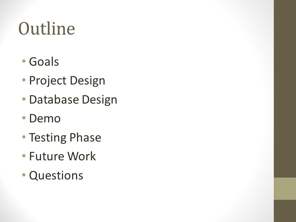 Outline Goals Project Design Database Design Demo Testing Phase Future Work Questions