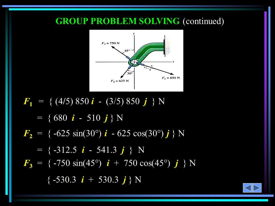 F 1 = { (4/5) 850 i - (3/5) 850 j } N = { 680 i - 510 j } N F 2 = { -625 sin(30°) i - 625 cos(30°) j } N = { -312.5 i - 541.3 j } N F 3 = { -750 sin(4