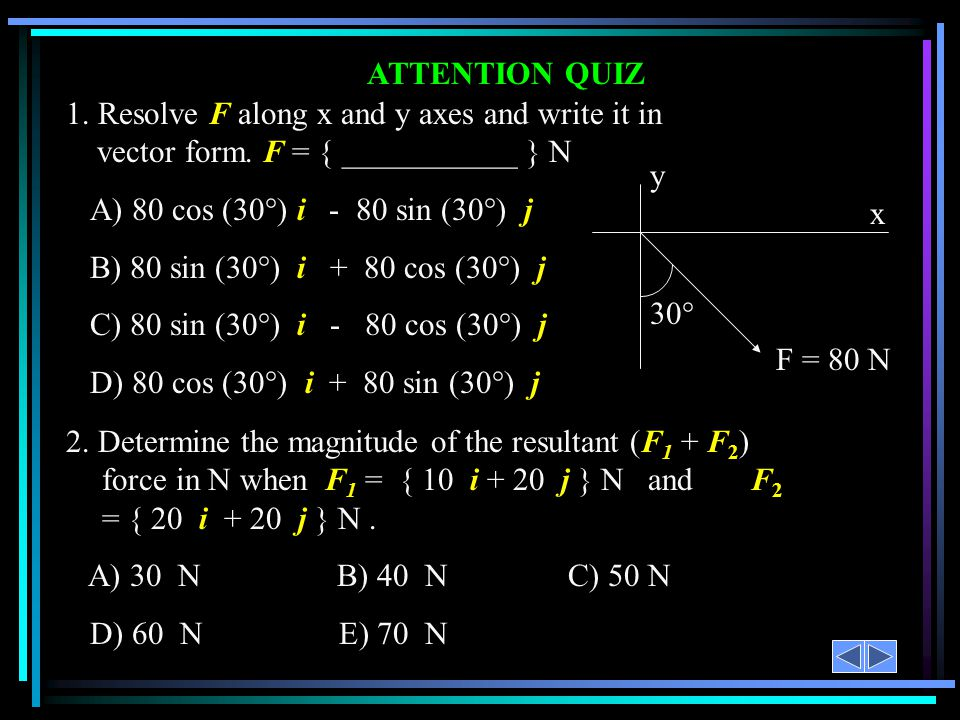 ATTENTION QUIZ 1. Resolve F along x and y axes and write it in vector form. F = { ___________ } N A) 80 cos (30°) i - 80 sin (30°) j B) 80 sin (30°) i