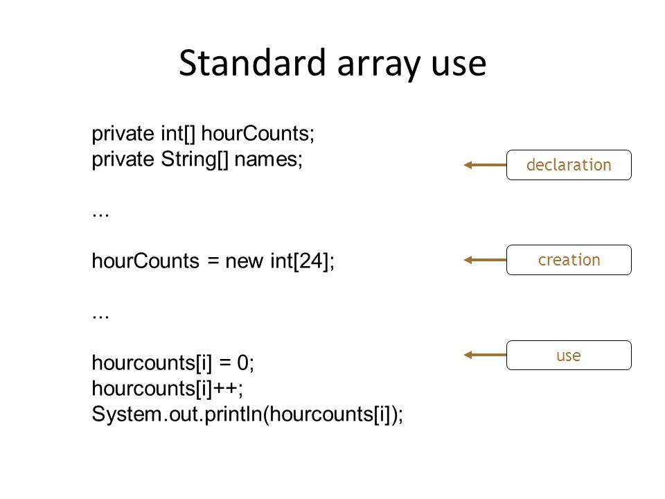 Standard array use private int[] hourCounts; private String[] names;...