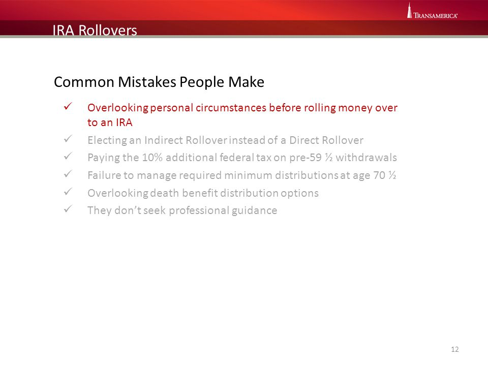 Common Mistakes People Make Overlooking personal circumstances before rolling money over to an IRA Electing an Indirect Rollover instead of a Direct R