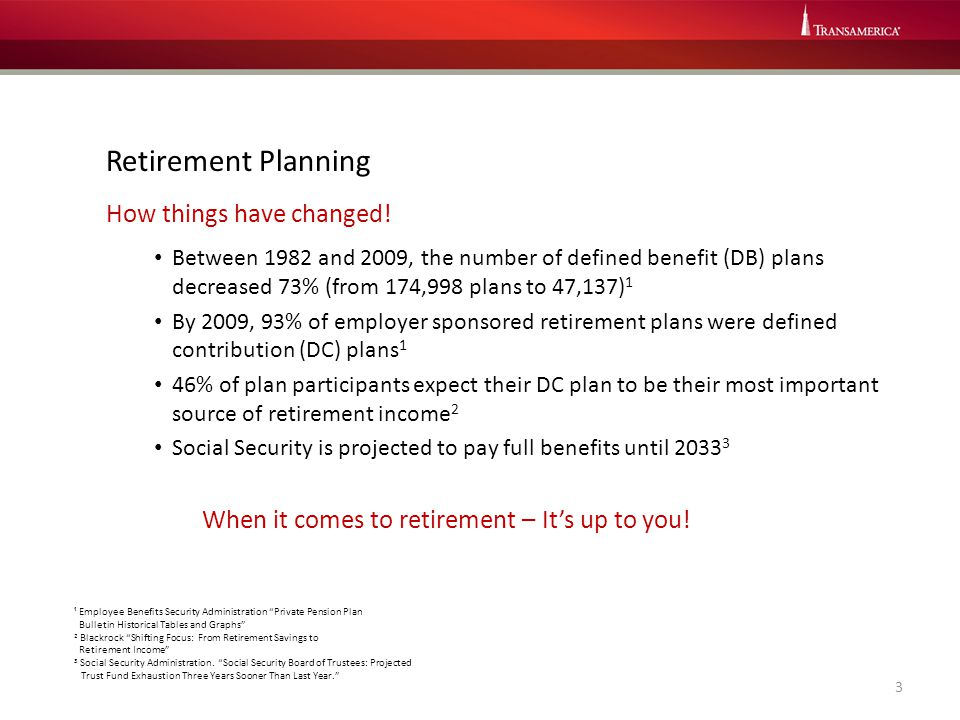 Retirement Planning How things have changed! Between 1982 and 2009, the number of defined benefit (DB) plans decreased 73% (from 174,998 plans to 47,1