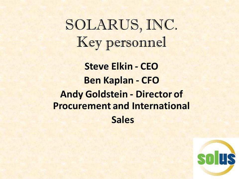 SOLARUS, INC. Key personnel Steve Elkin - CEO Ben Kaplan - CFO Andy Goldstein - Director of Procurement and International Sales