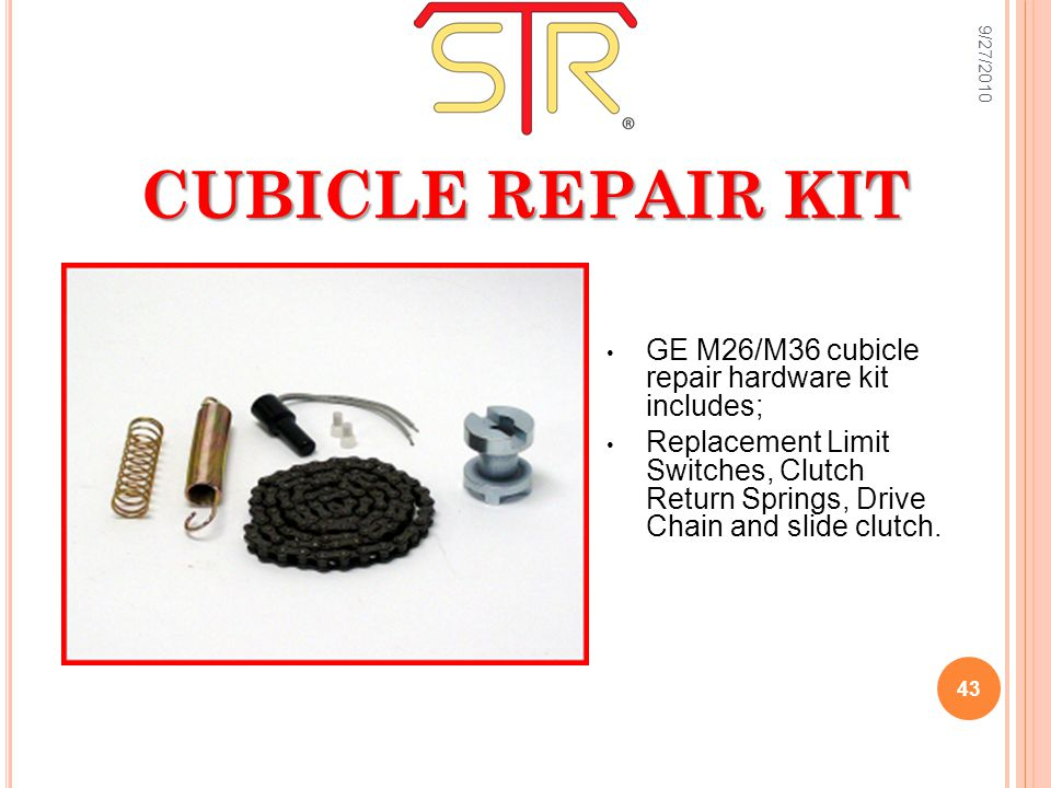 CUBICLE REPAIR KIT GE M26/M36 cubicle repair hardware kit includes; Replacement Limit Switches, Clutch Return Springs, Drive Chain and slide clutch.