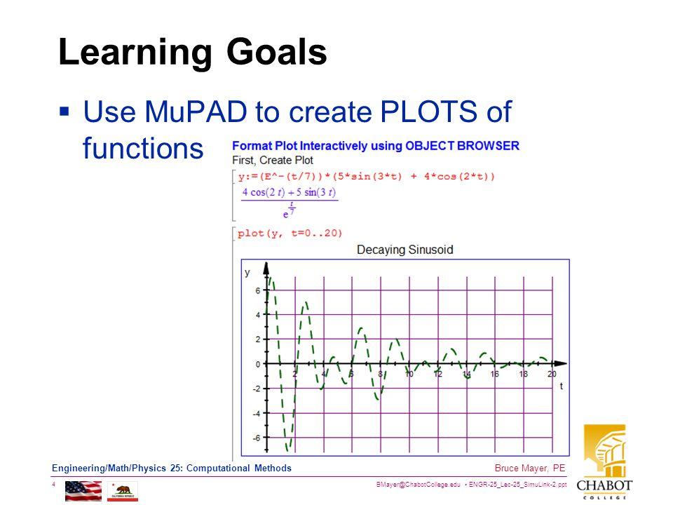 BMayer@ChabotCollege.edu ENGR-25_Lec-25_SimuLink-2.ppt 4 Bruce Mayer, PE Engineering/Math/Physics 25: Computational Methods Learning Goals  Use MuPAD to create PLOTS of functions