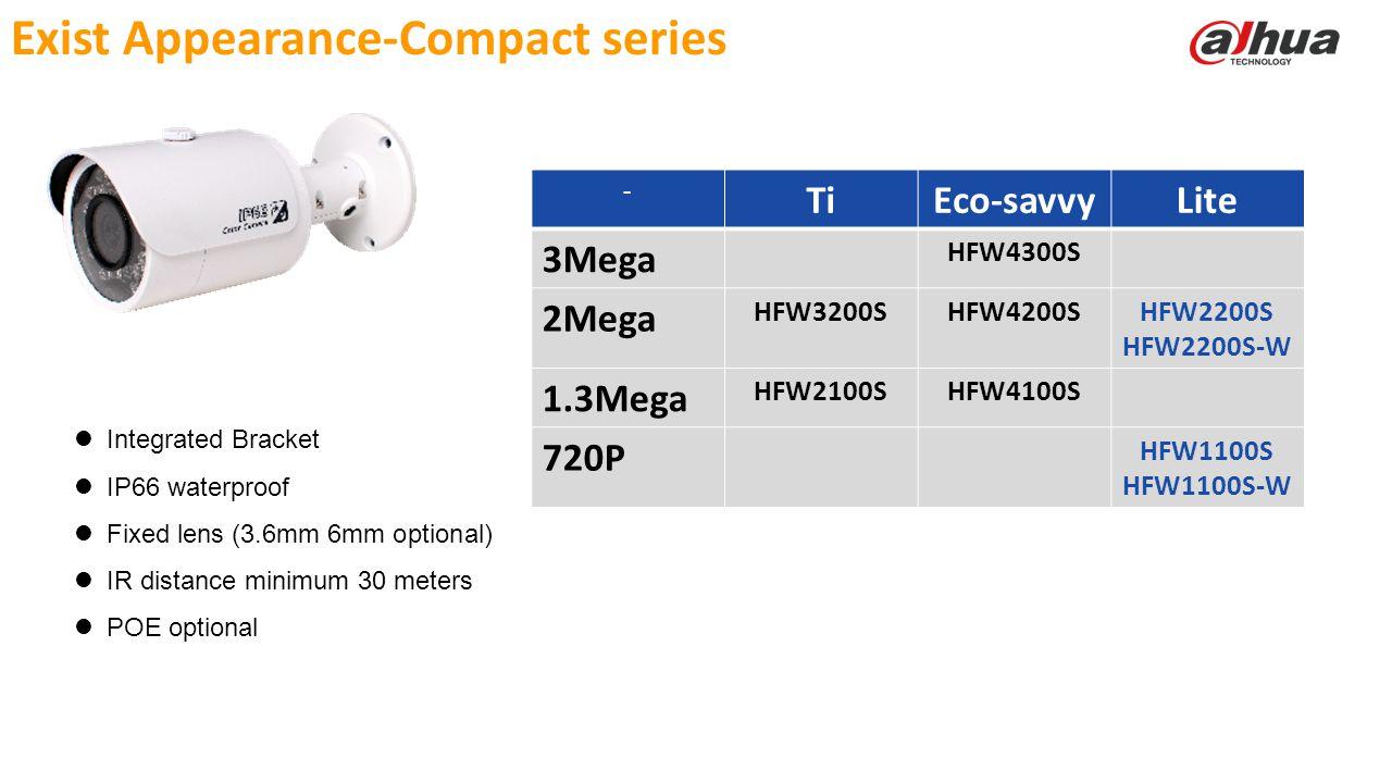 © 2013 DAHUA TECHNOLOGY Exist Appearance-Compact series Integrated Bracket IP66 waterproof Fixed lens (3.6mm 6mm optional) IR distance minimum 30 mete