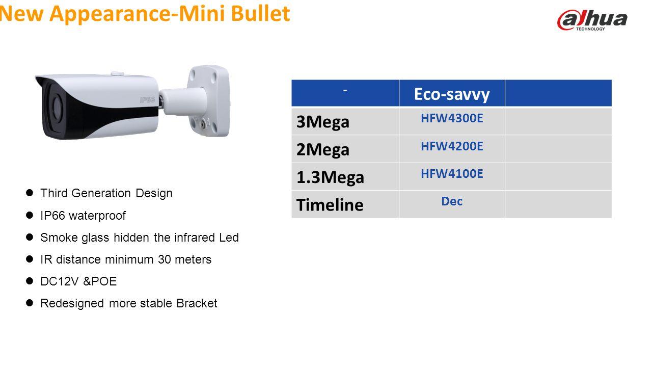© 2013 DAHUA TECHNOLOGY New Appearance-Mini Bullet Third Generation Design IP66 waterproof Smoke glass hidden the infrared Led IR distance minimum 30