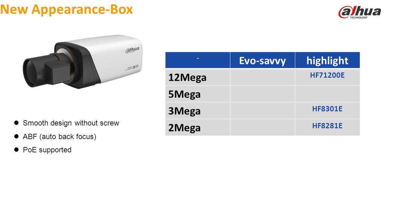 © 2013 DAHUA TECHNOLOGY New Appearance-Box Smooth design without screw ABF (auto back focus) PoE supported - Evo-savvyhighlight 12Mega HF71200E 5Mega