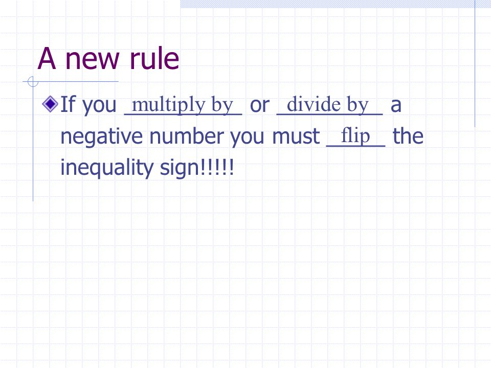 A new rule If you __________ or _________ a negative number you must _____ the inequality sign!!!!! multiply by flip divide by