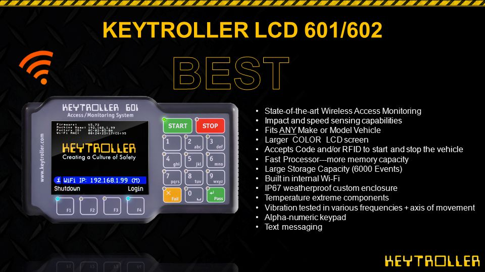 KEYTROLLER LCD 601/602 Checklist Flagged or Critical Items Flagged or Critical Checklist Items that are failed (like brakes) 1.The Lock Out Warning Will Appear (Are you sure?) 2.If operator presses YES, device will lock out and re- enabling the device can only be done by: Programmer Supervisor Or Mechanic Non-flagged or Non-critical Items that are failed (like brake lights) 1.The Lock Out Warning Will Appear (Are you sure?) 2.If operator presses YES an event is recorded in the log 3.No Supervisor Interface required.