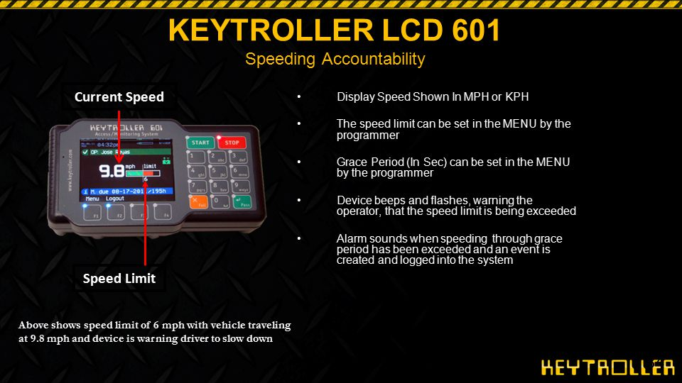 34 KEYTROLLER LCD 601 Speeding Accountability Display Speed Shown In MPH or KPH The speed limit can be set in the MENU by the programmer Grace Period