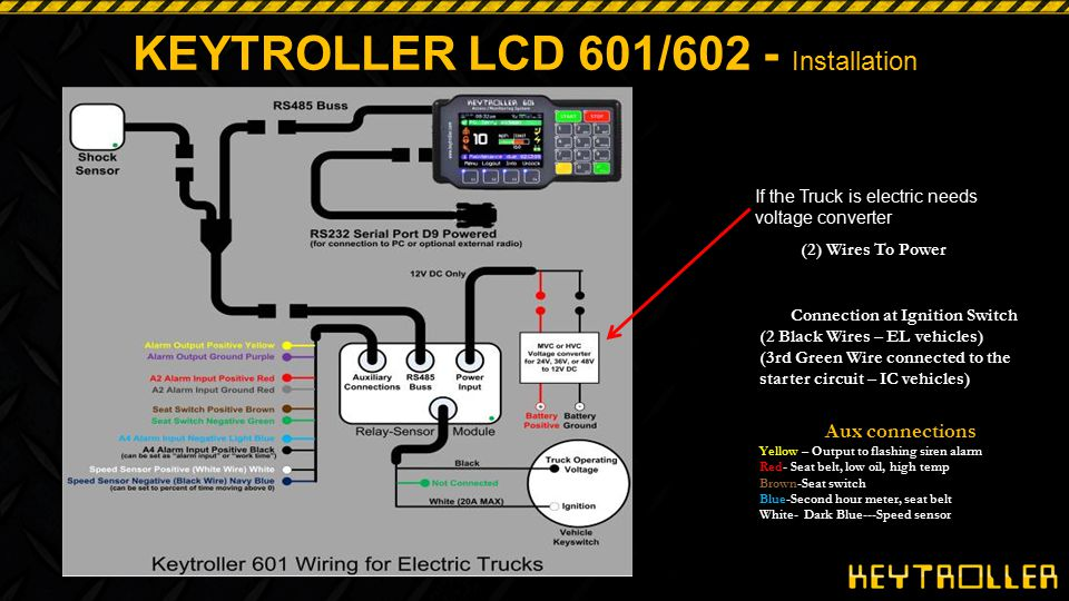 KEYTROLLER LCD 601 Auxiliary Inputs Examples - 2 options for Work time Productivity Evaluation 1.Secondary hour meter (input #4) connected to: Hydraulic load presence sensor Switch on accelerator to monitor idle time Lift pump motor Drive motor 2.Also can be set up as (time vehicle is moving above 0 MPH/KPH) Requires Keytroller to be connected to speed sensor input Set up either way, input is shown in seconds and can be compared against seat on or key on standard hour meter timer.