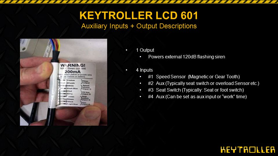 29 KEYTROLLER LCD 601 Auxiliary Inputs Examples: Seat Belt 1.OSHA s Seat Belt Use enforcement policy Section 5(a)(1) - OSHA Act Failure to use seat belts on equipped forklifts IS A VIOLATION!.