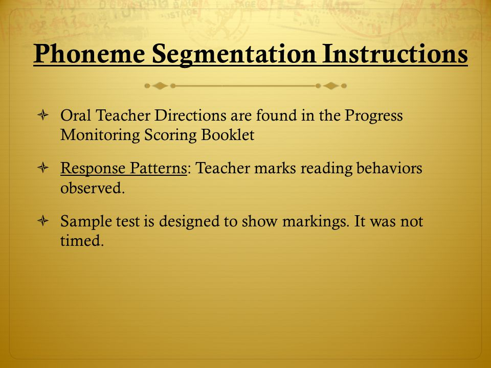 Phoneme Segmentation Phoneme Segmentation Sample Test (Click on the title to view)