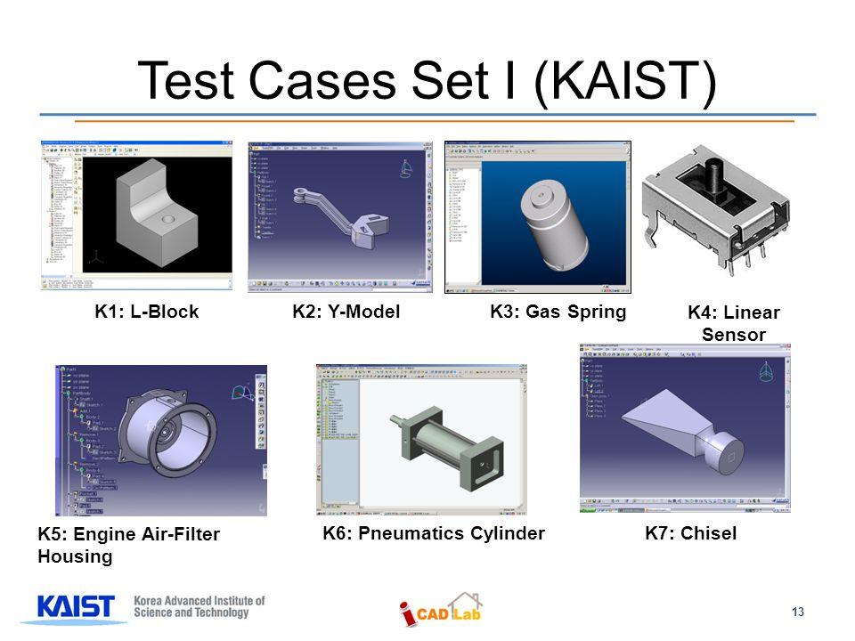 Test Cases Set I (KAIST) K1: L-BlockK2: Y-ModelK3: Gas Spring K4: Linear Sensor K5: Engine Air-Filter Housing K6: Pneumatics Cylinder K7: Chisel 13