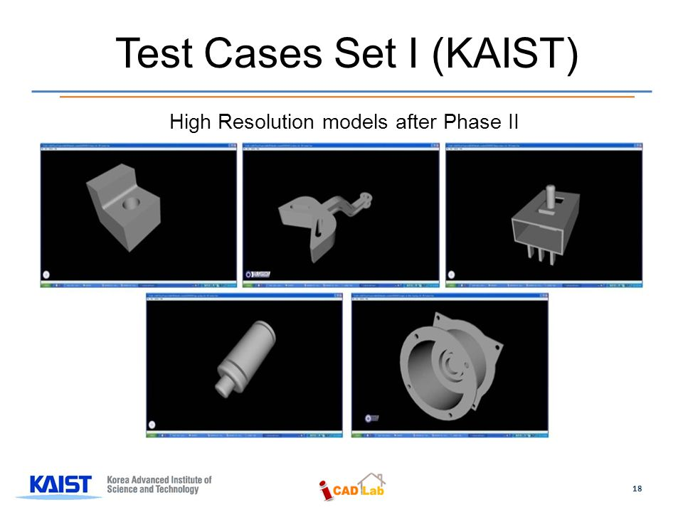 Test Cases Set I (KAIST) 18 High Resolution models after Phase II