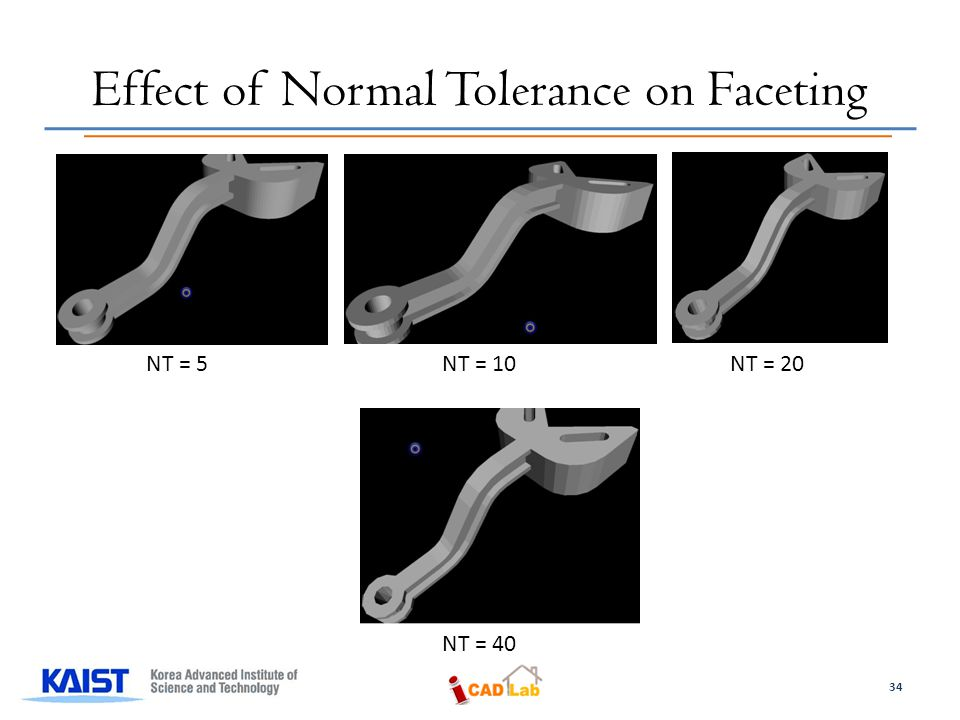 Effect of Normal Tolerance on Faceting NT = 5 NT = 10 NT = 20 NT = 40 34