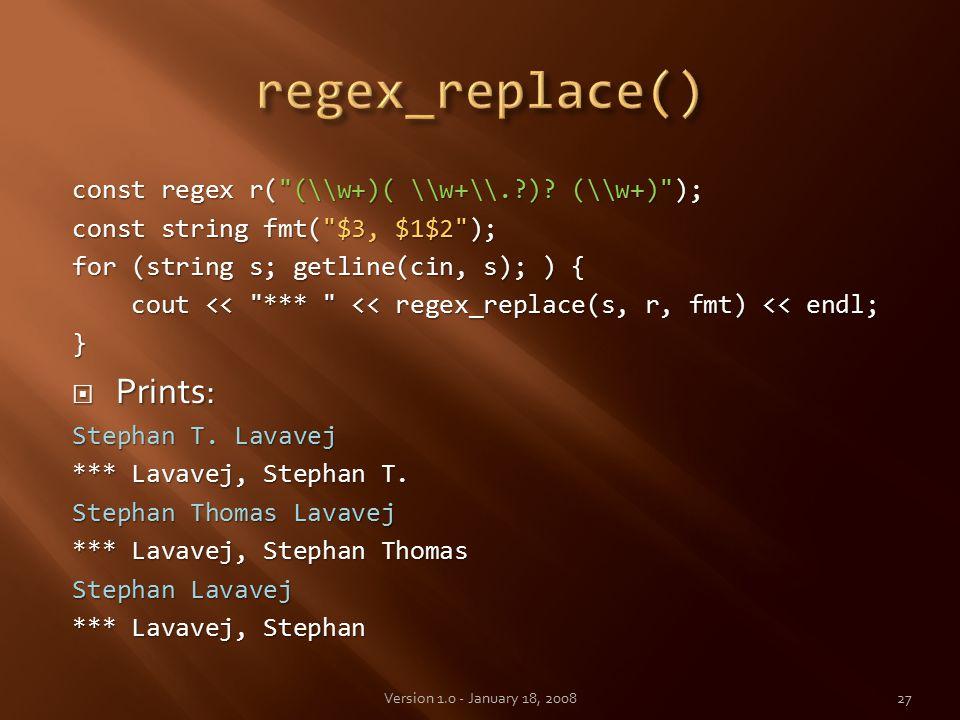 const regex r( (\\w+)( \\w+\\. ).