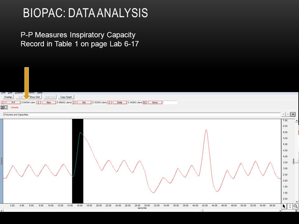 BIOPAC: DATA ANALYSIS P-P Measures Inspiratory Capacity Record in Table 1 on page Lab 6-17