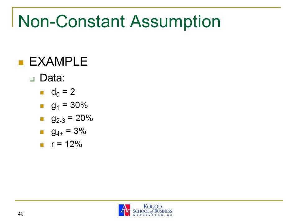 40 Non-Constant Assumption EXAMPLE  Data: d 0 = 2 g 1 = 30% g 2-3 = 20% g 4+ = 3% r = 12%