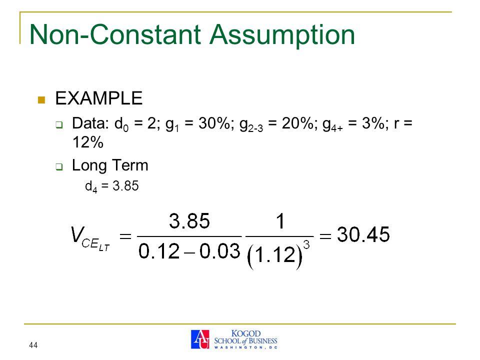44 Non-Constant Assumption EXAMPLE  Data: d 0 = 2; g 1 = 30%; g 2-3 = 20%; g 4+ = 3%; r = 12%  Long Term d 4 = 3.85