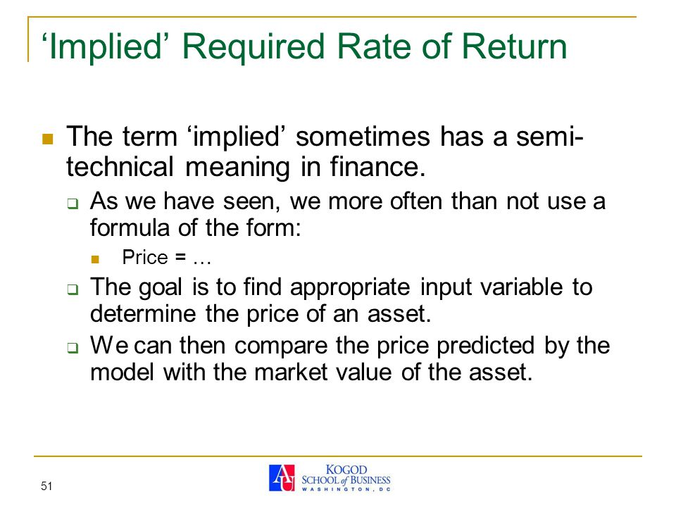 51 'Implied' Required Rate of Return The term 'implied' sometimes has a semi- technical meaning in finance.