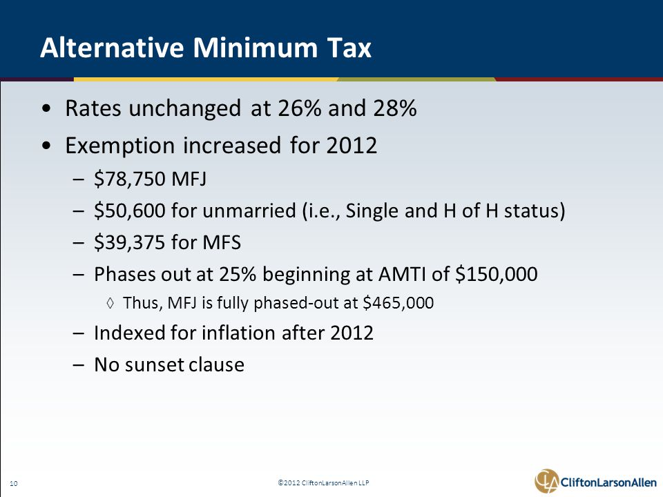 ©2012 CliftonLarsonAllen LLP 10 Alternative Minimum Tax Rates unchanged at 26% and 28% Exemption increased for 2012 –$78,750 MFJ –$50,600 for unmarried (i.e., Single and H of H status) –$39,375 for MFS –Phases out at 25% beginning at AMTI of $150,000 ◊ Thus, MFJ is fully phased-out at $465,000 –Indexed for inflation after 2012 –No sunset clause