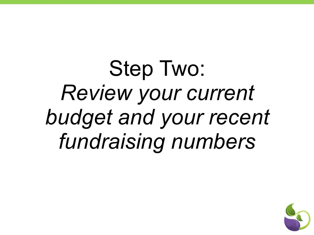 Step Two: Review your current budget and your recent fundraising numbers
