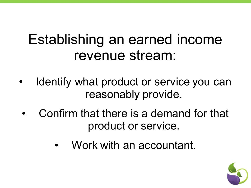 Establishing an earned income revenue stream: Identify what product or service you can reasonably provide.