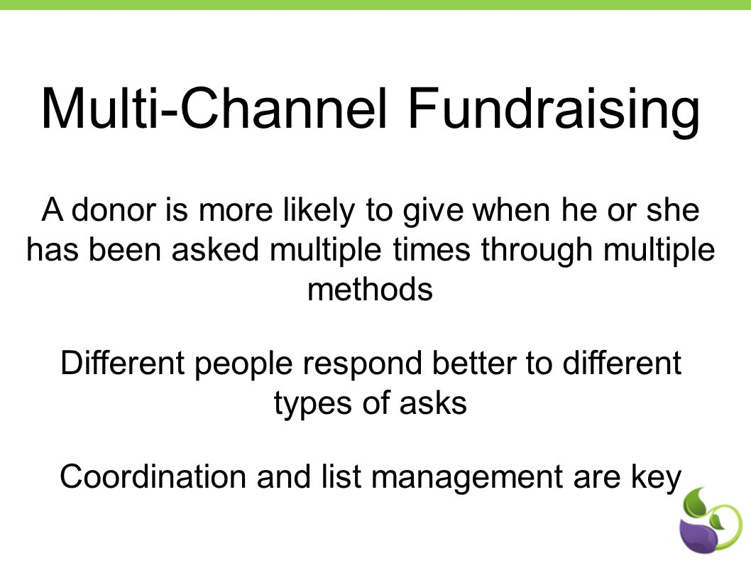 Multi-Channel Fundraising A donor is more likely to give when he or she has been asked multiple times through multiple methods Different people respon