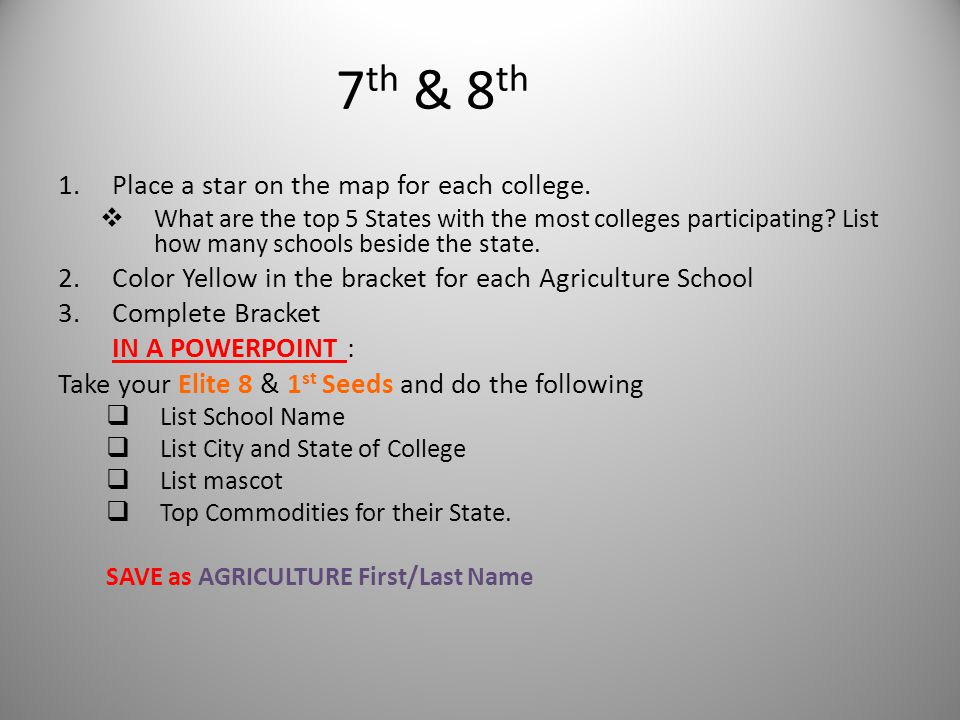 7 th & 8 th 1.Place a star on the map for each college.