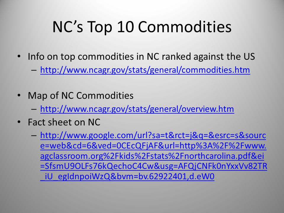 NC's Top 10 Commodities Info on top commodities in NC ranked against the US – http://www.ncagr.gov/stats/general/commodities.htm http://www.ncagr.gov/stats/general/commodities.htm Map of NC Commodities – http://www.ncagr.gov/stats/general/overview.htm http://www.ncagr.gov/stats/general/overview.htm Fact sheet on NC – http://www.google.com/url sa=t&rct=j&q=&esrc=s&sourc e=web&cd=6&ved=0CEcQFjAF&url=http%3A%2F%2Fwww.