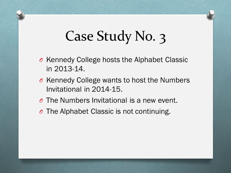 Case Study No. 3 O Kennedy College hosts the Alphabet Classic in 2013-14.