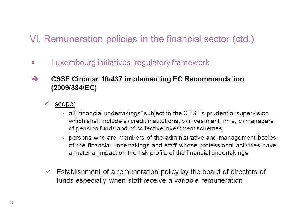 "32  Luxembourg initiatives: regulatory framework  CSSF Circular 10/437 implementing EC Recommendation (2009/384/EC) scope: →all ""financial undertaki"